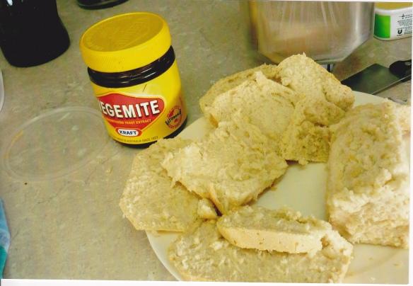 Homebaked, fresh bread -- a must for Vegemite