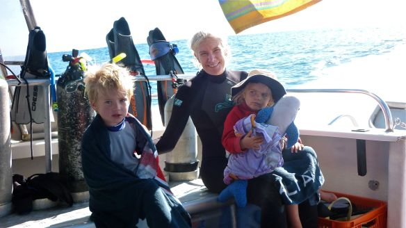 steph with kids on ning reef dream boat