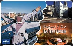 Here's one of the fake postcards that was part of the entry. Here's Kurt and I on top of the Habour Bridge in Sydney