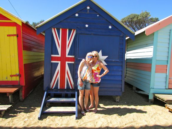 Here I am (left) with my sister, Suz (right) at the Brighton Beach boxes near Melbourne.