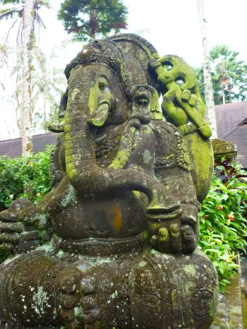 A Ganesha statue outside a jungle elephant preserve. The electric green moss transfixed me.