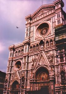 Finding my moment when I look through the viewfinder to take a photo of the Duomo in Florence and a hawk begins to circle