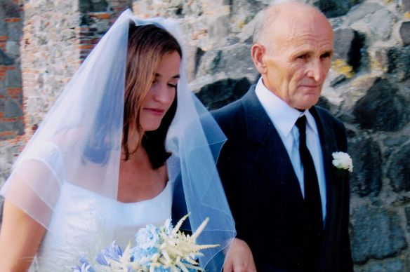 My friend Kate is escorted by her dad, Joska Borika, in Viségrad, Hungary.
