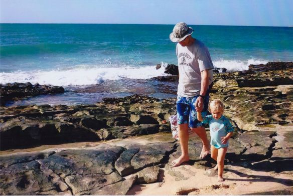 Kaesy and Kurt wandering along the coast of Exmouth, Western Australia.