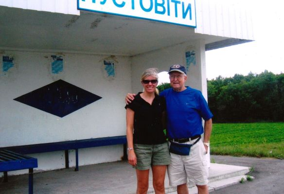 Hanging out at a bustop in Ukraine.