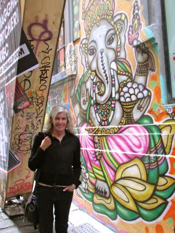 Here I am with Ganesha on Hosier Lane in Melbourne.