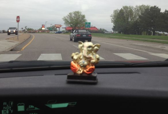 My Vegas Ganesha bringing me good luck on the road.