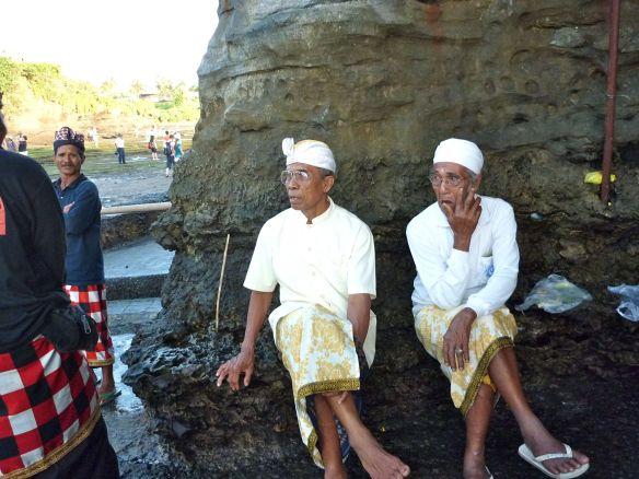 Bali priests vocanic rock