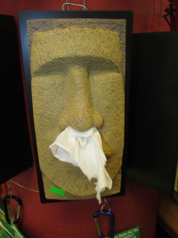 A Moai tissue holder at the St. Lawrence Market in Toronto, Canada.