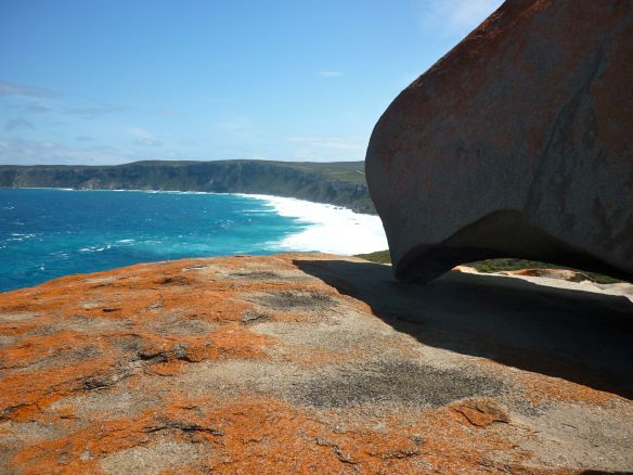 At the Remarkable Rocks on  Kangaroo Island with a rock that looks like the west coast of Australia. © Stephanie Glaser 2010