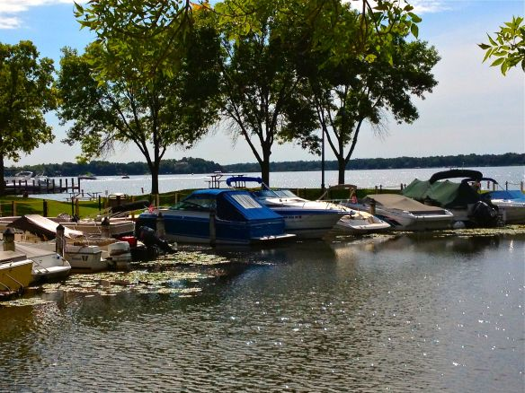 Boats parked in a cove off Wayzata Bay on Lake Minnetonka.