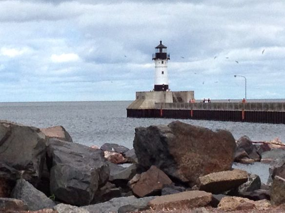 Duluth's lighthouse perched on the pier at Lake Superior.