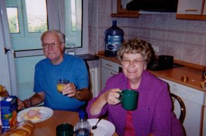 Ed and Judy at breakfast, enjoying a delicious spread, including Nescafé.