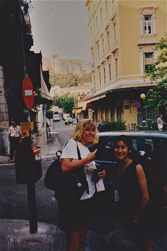 Indira and I take a break from our sprint to the ferry to look at the Acropolis.