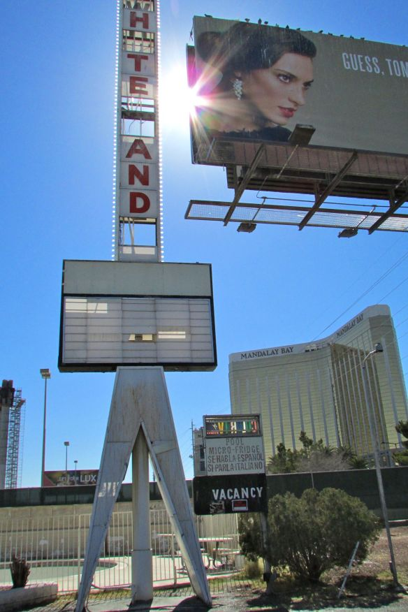 Ironically, this hotel didn't make it on the Vegas strip. Just down the road you can see the Mandalay Bay.