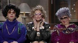 Coffee talkers: Mike Myers, Madonna and Roseanne Barr from the classic Saturday Night Live skit.