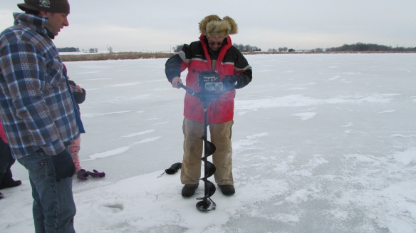 drilling for ice fishing