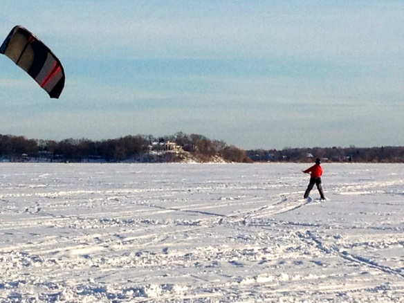 Kite skiing on Lake Minnetonka in Wayzata, MN