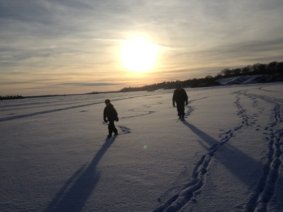 Eddie and Kurt take a walk on the frozen side. 2013.