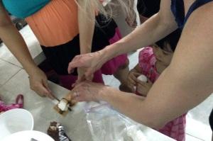 Making the sandwich in Silk's kitchen.