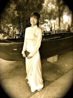 beautiful ao dai woman 1960ish