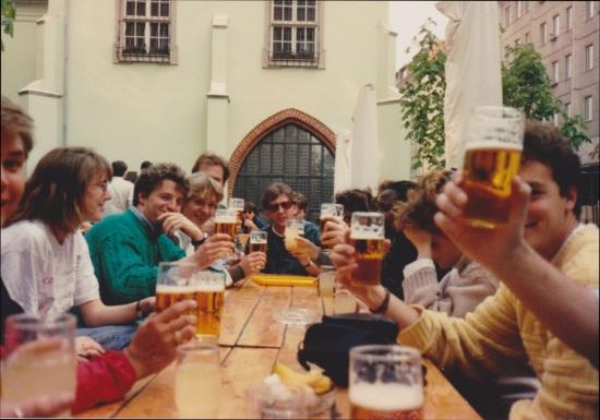 drinking beer in east berlin