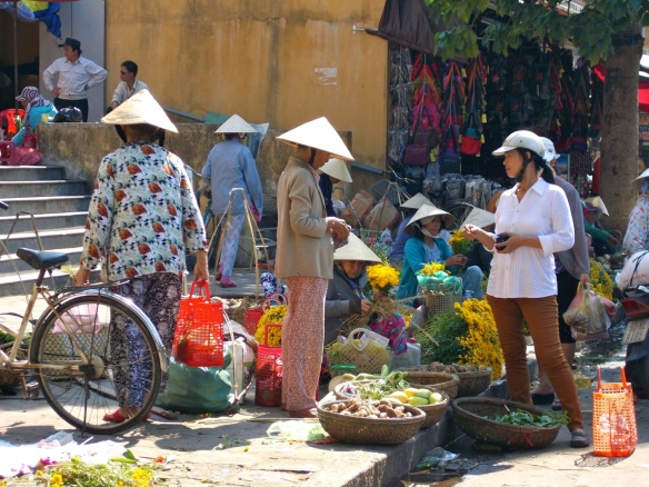 Women run the show at the Hoi An market.