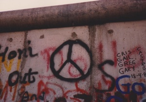 peace sign on wall