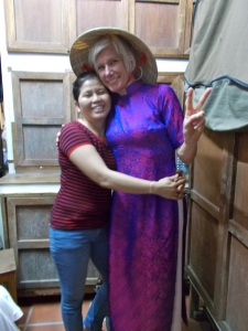 Steph and Loan in ao dai