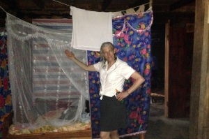 steph showing the mosquito netting
