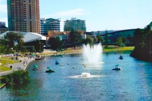 The Torrens River running well through the city of Adelaide.
