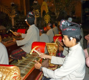 Members of the gamelan orchestra are often young Balinese musicians.
