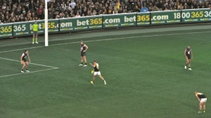 The Richmond Tigers Australian Rules football team playing in Melbourne.