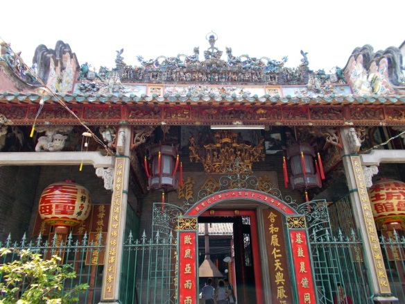 Chinese style lanterns at a temple.