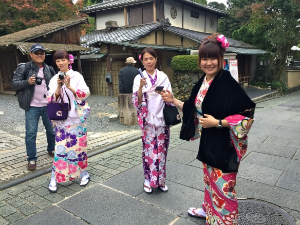 The kimono-clad women losing it when they see us.