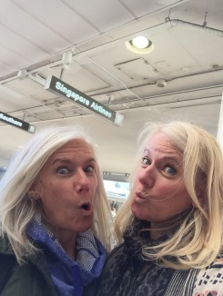 making goofy faces at LAX