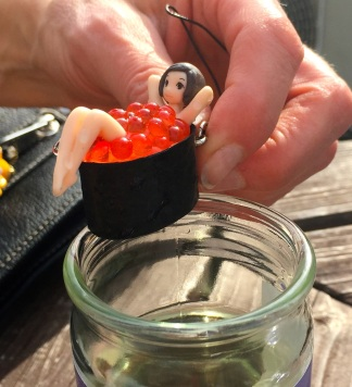 sushi girl in fish eggs
